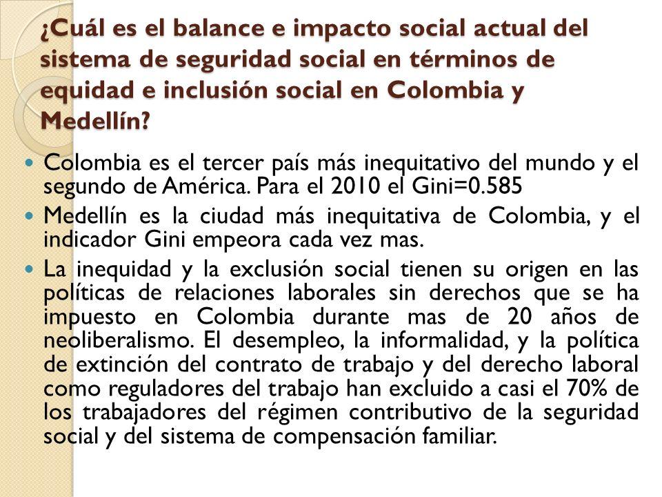 ¿Cuál es el balance e impacto social actual del sistema de seguridad social en términos de equidad e inclusión social en Colombia y Medellín