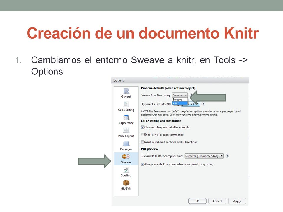 Creación de un documento Knitr