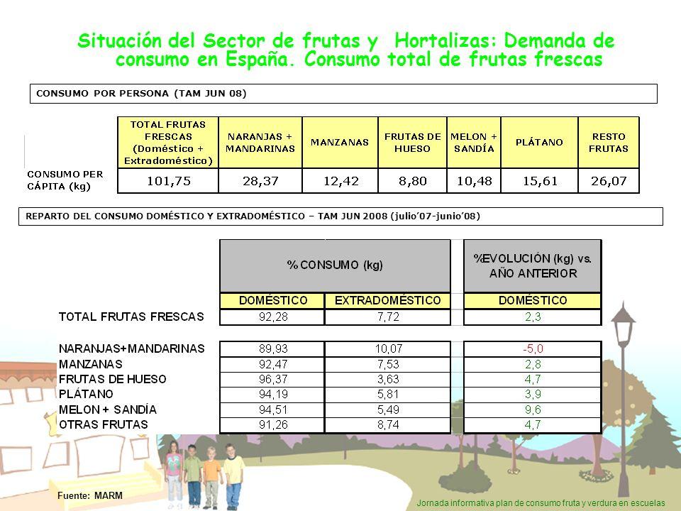 Situación del Sector de frutas y Hortalizas: Demanda de consumo en España. Consumo total de frutas frescas