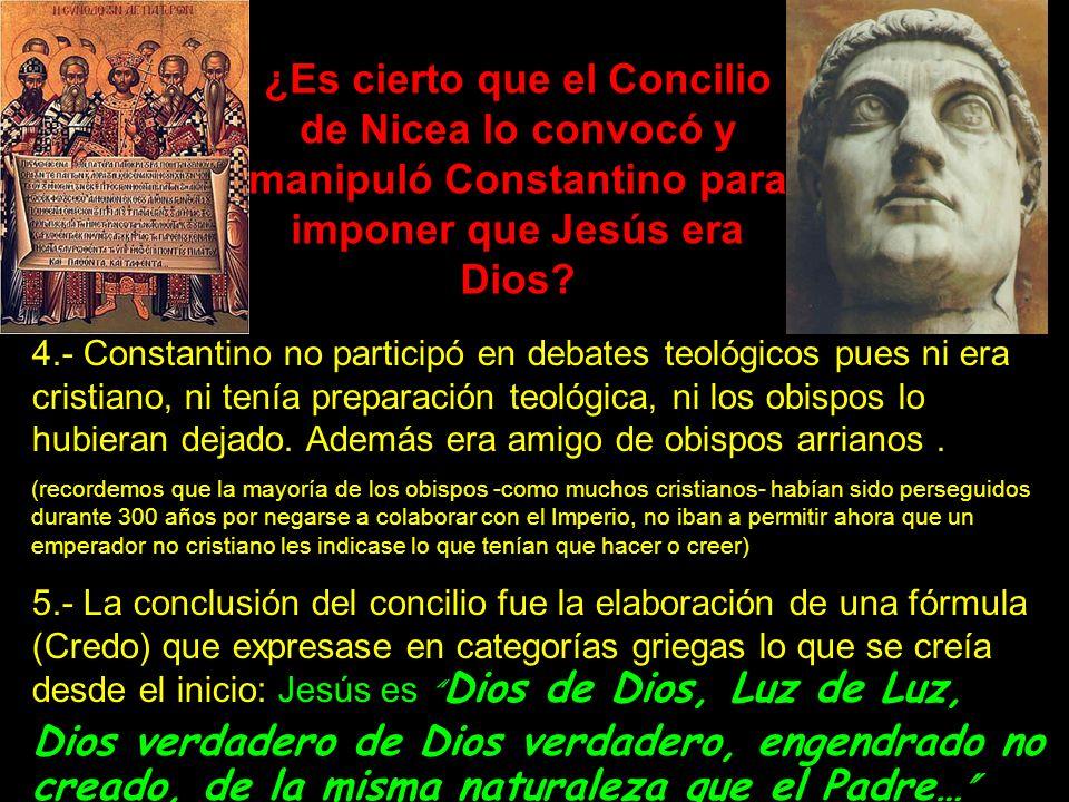 ¿Es cierto que el Concilio de Nicea lo convocó y manipuló Constantino para imponer que Jesús era Dios