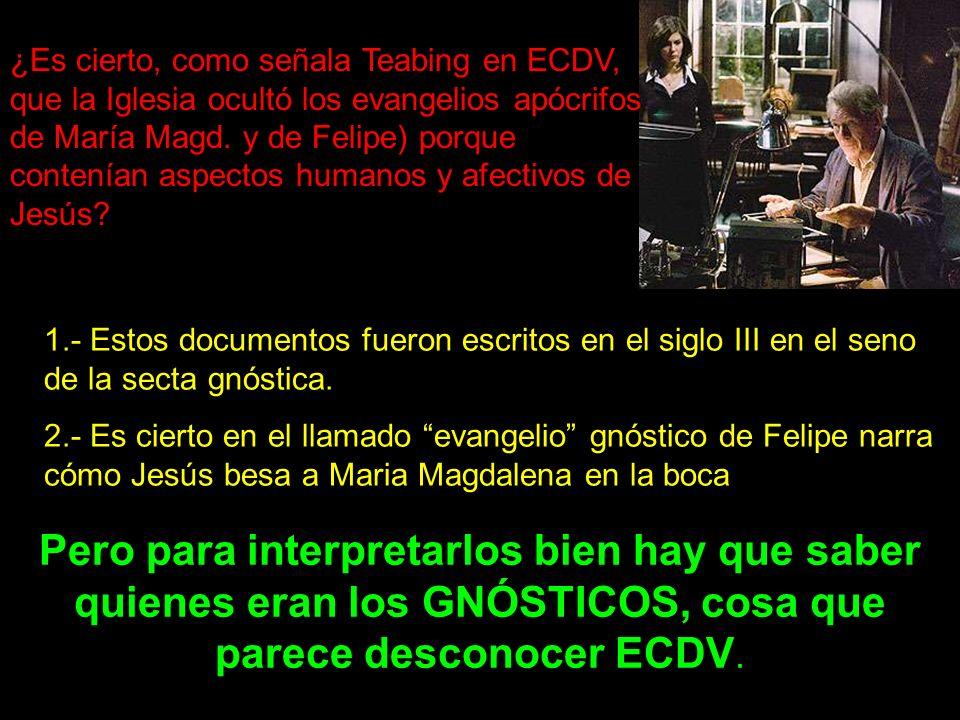 ¿Es cierto, como señala Teabing en ECDV, que la Iglesia ocultó los evangelios apócrifos de María Magd. y de Felipe) porque contenían aspectos humanos y afectivos de Jesús