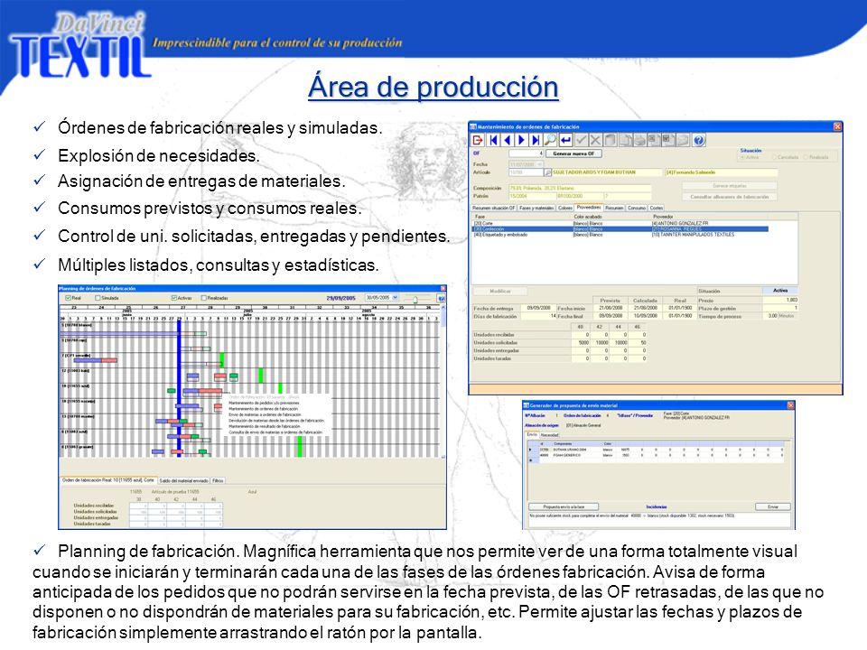 Área de producción ü Órdenes de fabricación reales y simuladas.