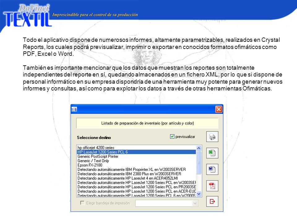 Todo el aplicativo dispone de numerosos informes, altamente parametrizables, realizados en Crystal Reports, los cuales podrá previsualizar, imprimir o exportar en conocidos formatos ofimáticos como PDF, Excel o Word.