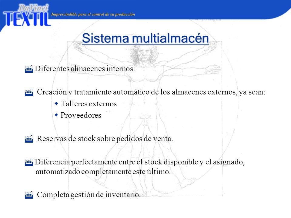 Sistema multialmacén F Diferentes almacenes internos.