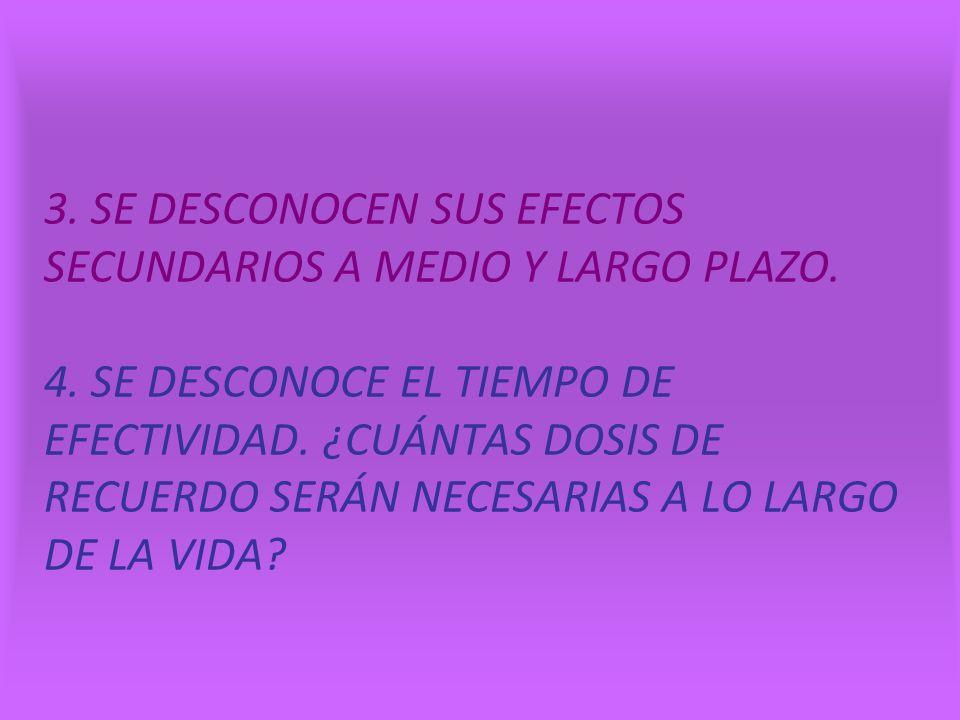 3. SE DESCONOCEN SUS EFECTOS SECUNDARIOS A MEDIO Y LARGO PLAZO. 4
