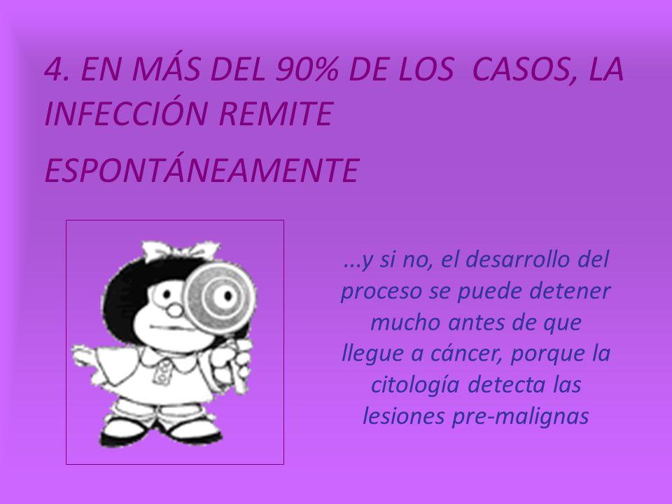 4. EN MÁS DEL 90% DE LOS CASOS, LA INFECCIÓN REMITE ESPONTÁNEAMENTE