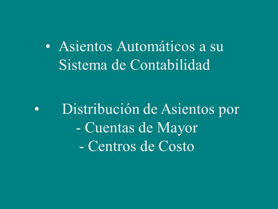 Asientos Automáticos a su Sistema de Contabilidad