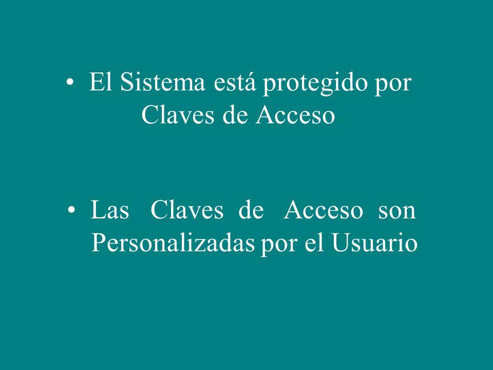 El Sistema está protegido por Claves de Acceso
