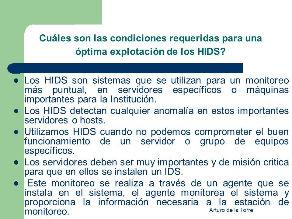 Cuáles son las condiciones requeridas para una óptima explotación de los HIDS