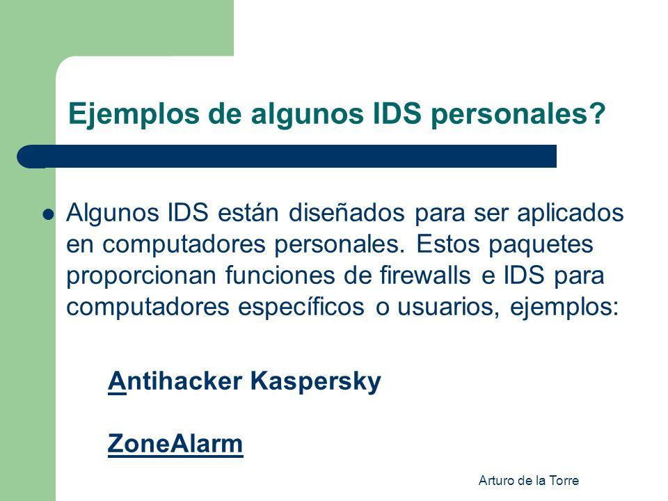Ejemplos de algunos IDS personales