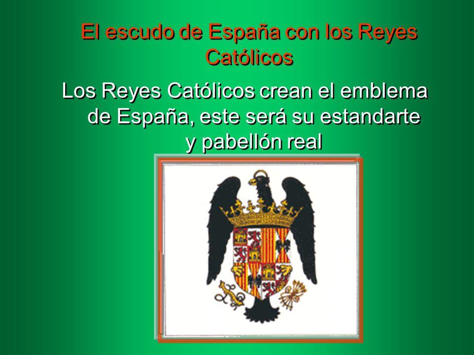 El escudo de España con los Reyes Católicos
