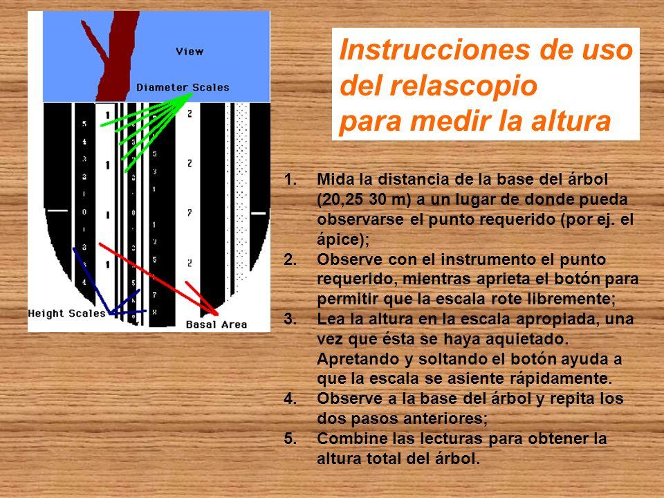 Instrucciones de uso del relascopio para medir la altura