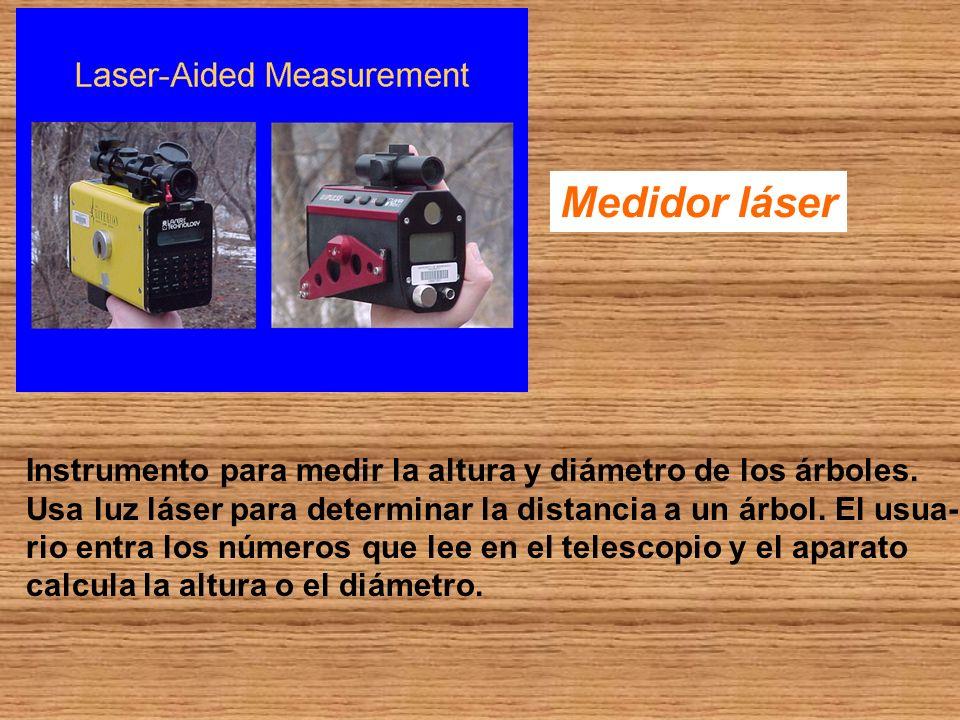 Medidor láser Instrumento para medir la altura y diámetro de los árboles. Usa luz láser para determinar la distancia a un árbol. El usua-