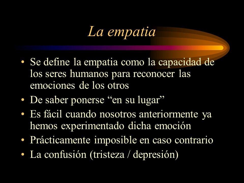 La empatia Se define la empatia como la capacidad de los seres humanos para reconocer las emociones de los otros.