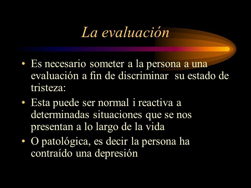 La evaluación Es necesario someter a la persona a una evaluación a fin de discriminar su estado de tristeza: