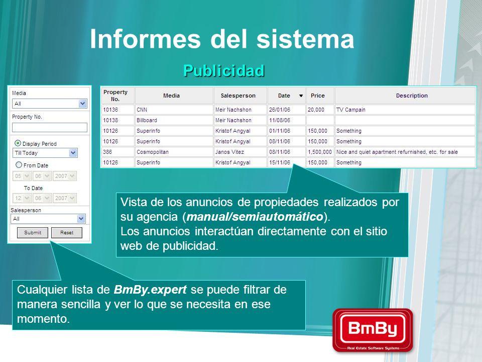 Informes del sistema Publicidad