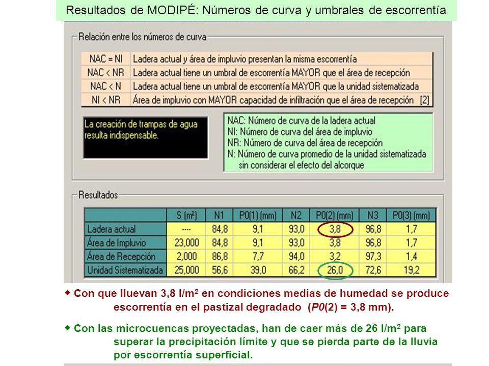 Resultados de MODIPÉ: Números de curva y umbrales de escorrentía