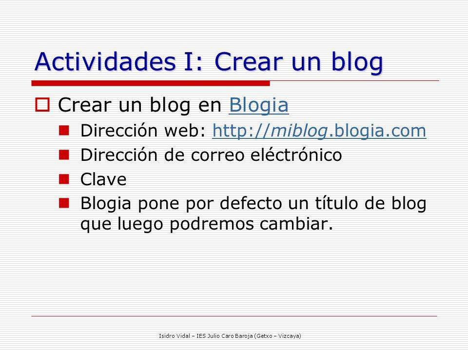 Actividades I: Crear un blog