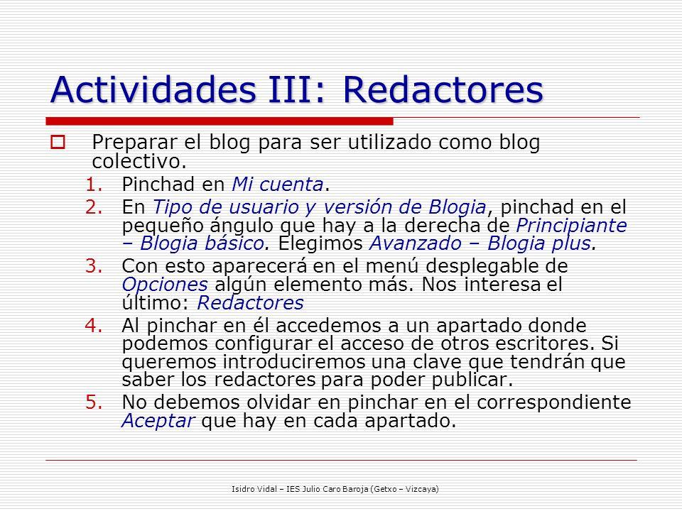 Actividades III: Redactores