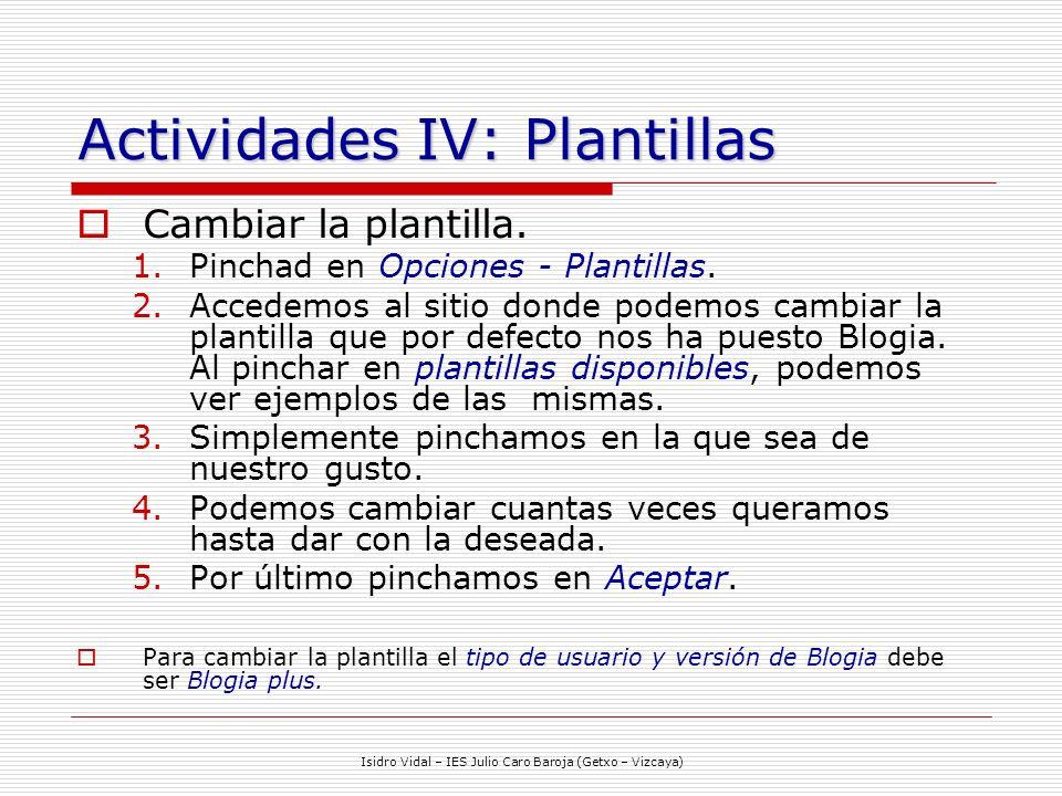 Actividades IV: Plantillas