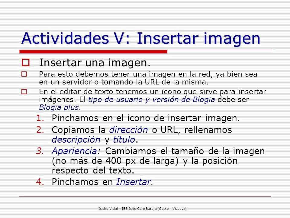 Actividades V: Insertar imagen