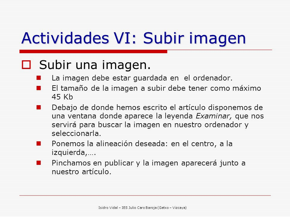 Actividades VI: Subir imagen