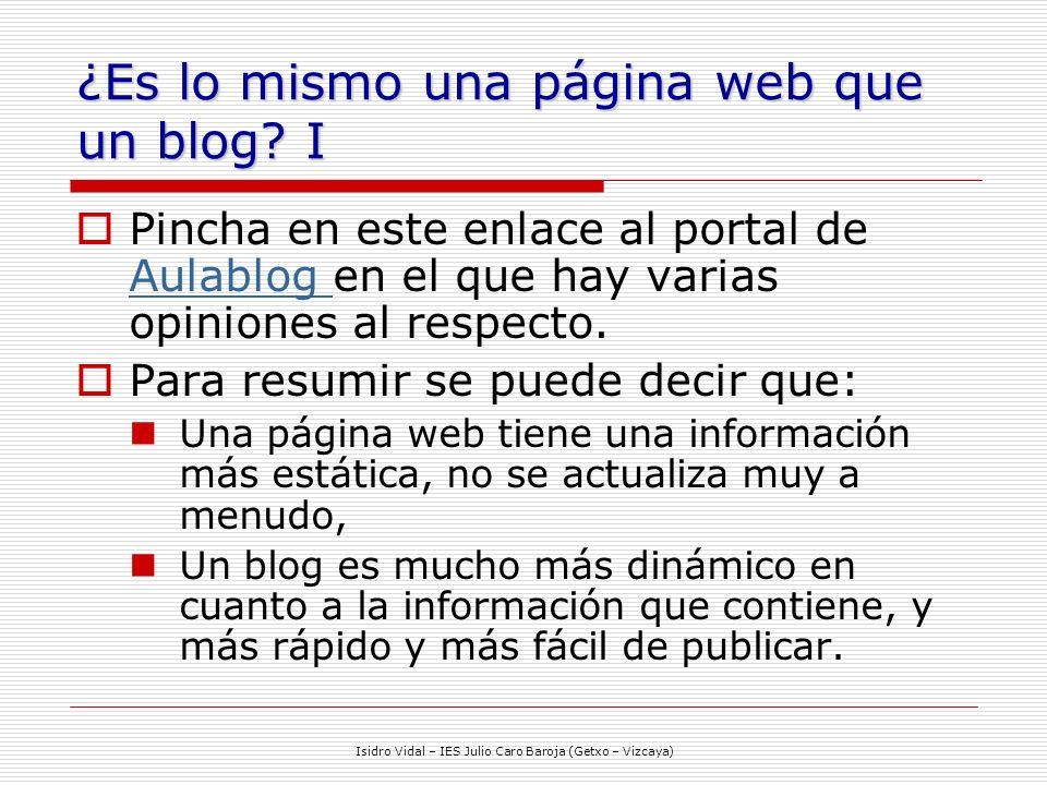 ¿Es lo mismo una página web que un blog I