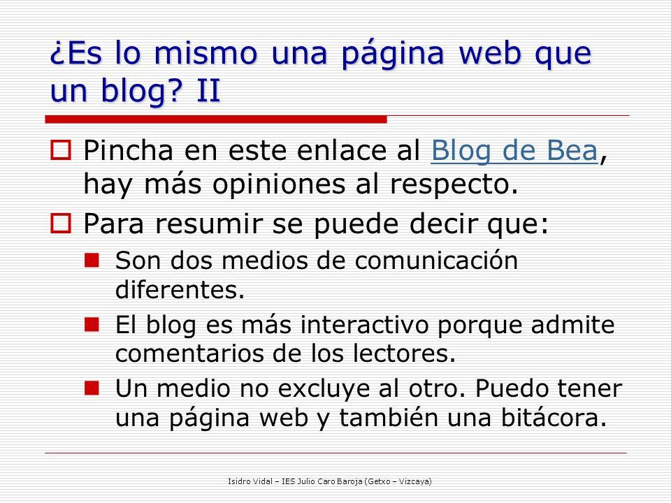 ¿Es lo mismo una página web que un blog II