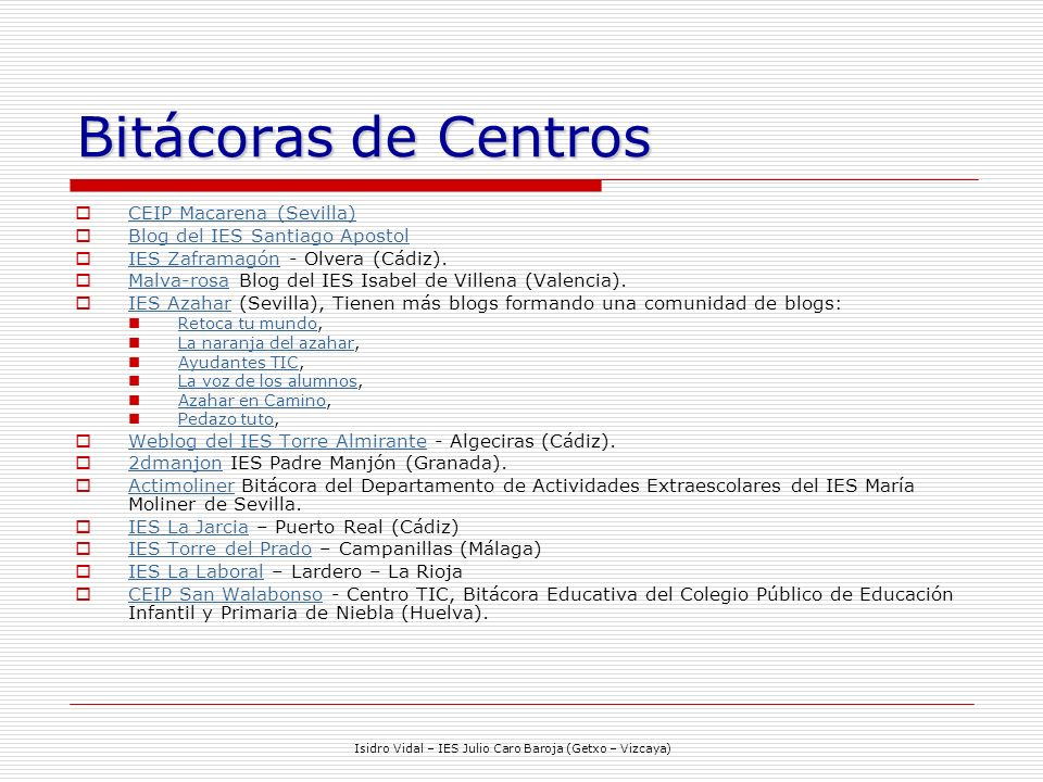 Isidro Vidal – IES Julio Caro Baroja (Getxo – Vizcaya)