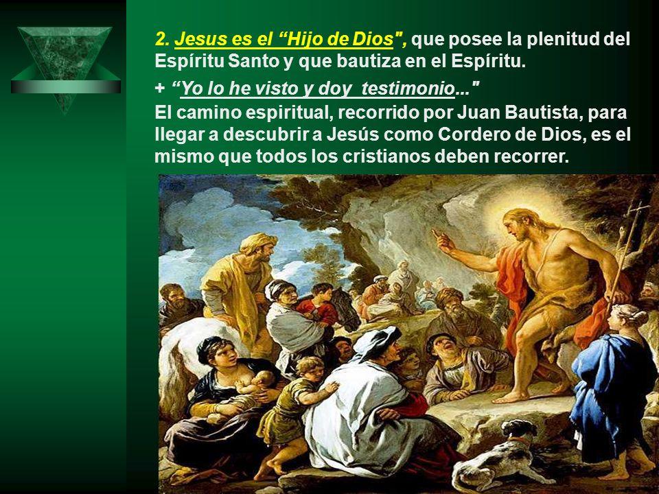 2. Jesus es el Hijo de Dios , que posee la plenitud del Espíritu Santo y que bautiza en el Espíritu.