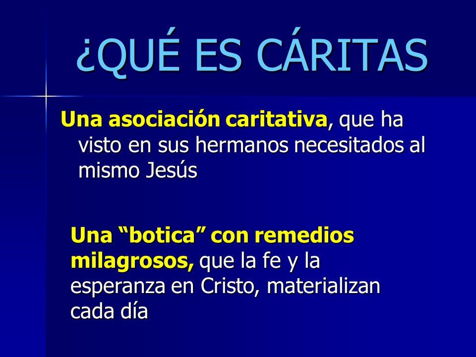 ¿QUÉ ES CÁRITAS Una asociación caritativa, que ha visto en sus hermanos necesitados al mismo Jesús.