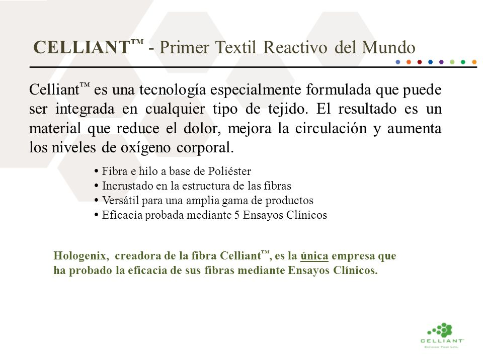 CELLIANT™ - Primer Textil Reactivo del Mundo