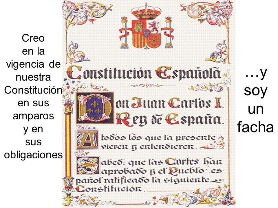 Creo en la vigencia de nuestra Constitución en sus amparos y en sus obligaciones