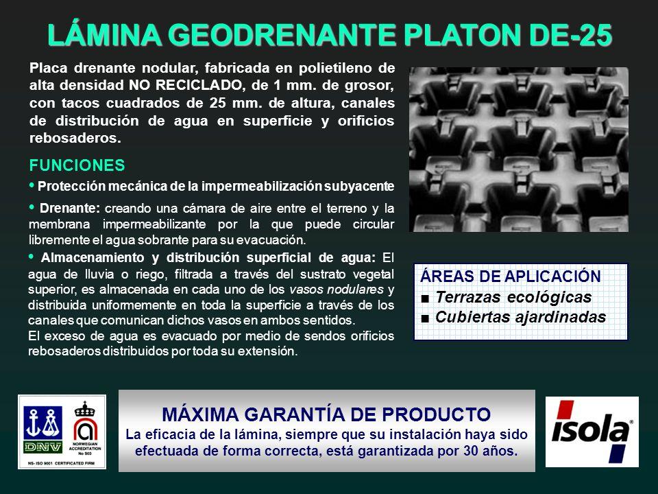 LÁMINA GEODRENANTE PLATON DE-25 MÁXIMA GARANTÍA DE PRODUCTO