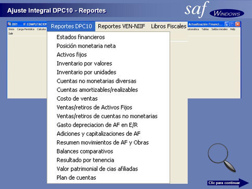 Ajuste Integral DPC10 - Reportes