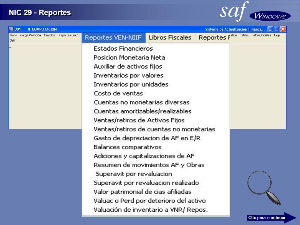NIC 29 - Reportes Clic para continuar