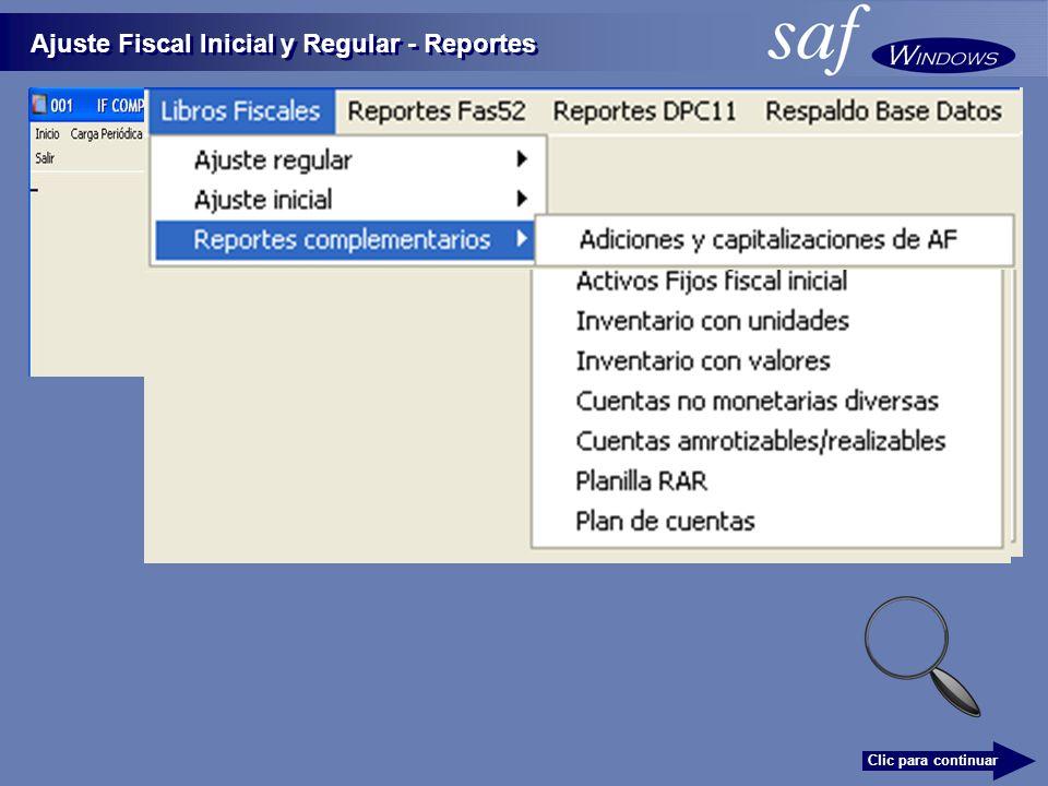 Ajuste Fiscal Inicial y Regular - Reportes