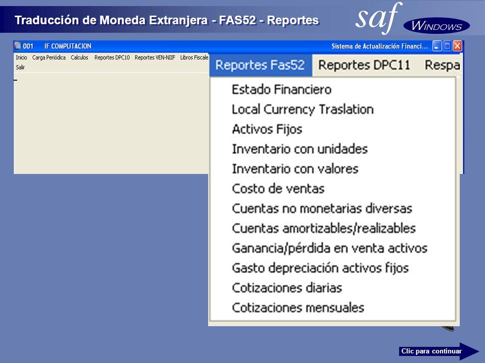 Traducción de Moneda Extranjera - FAS52 - Reportes