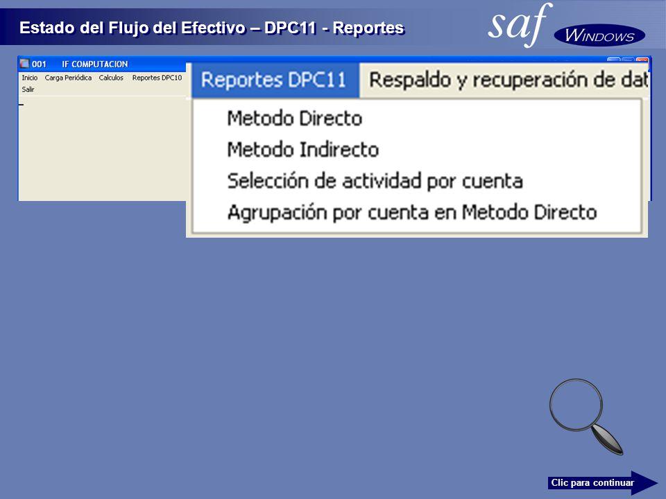 Estado del Flujo del Efectivo – DPC11 - Reportes