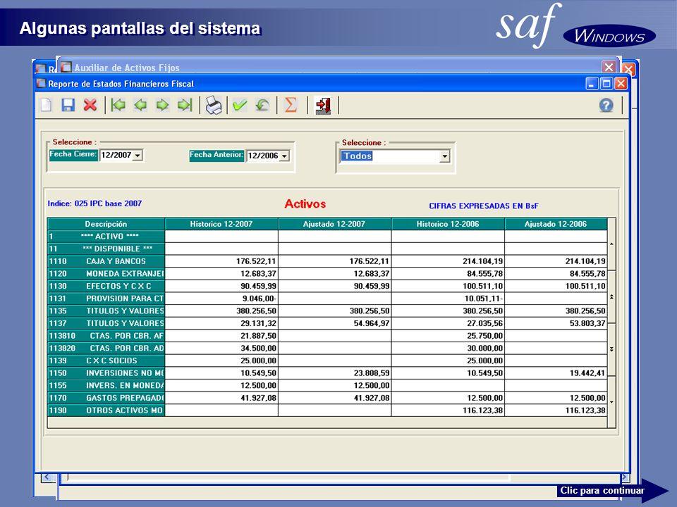 Algunas pantallas del sistema