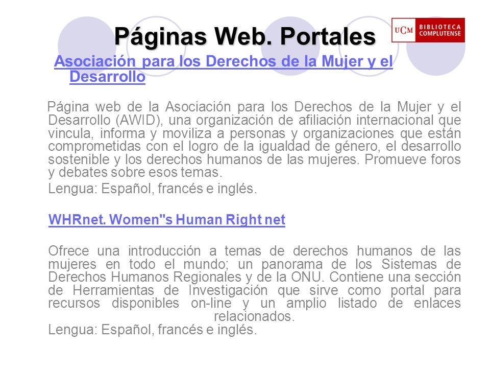 Páginas Web. Portales Asociación para los Derechos de la Mujer y el Desarrollo.
