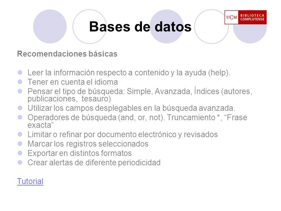 Bases de datos Recomendaciones básicas