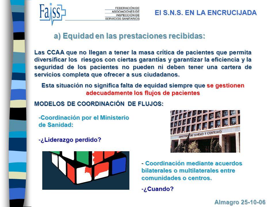 a) Equidad en las prestaciones recibidas: