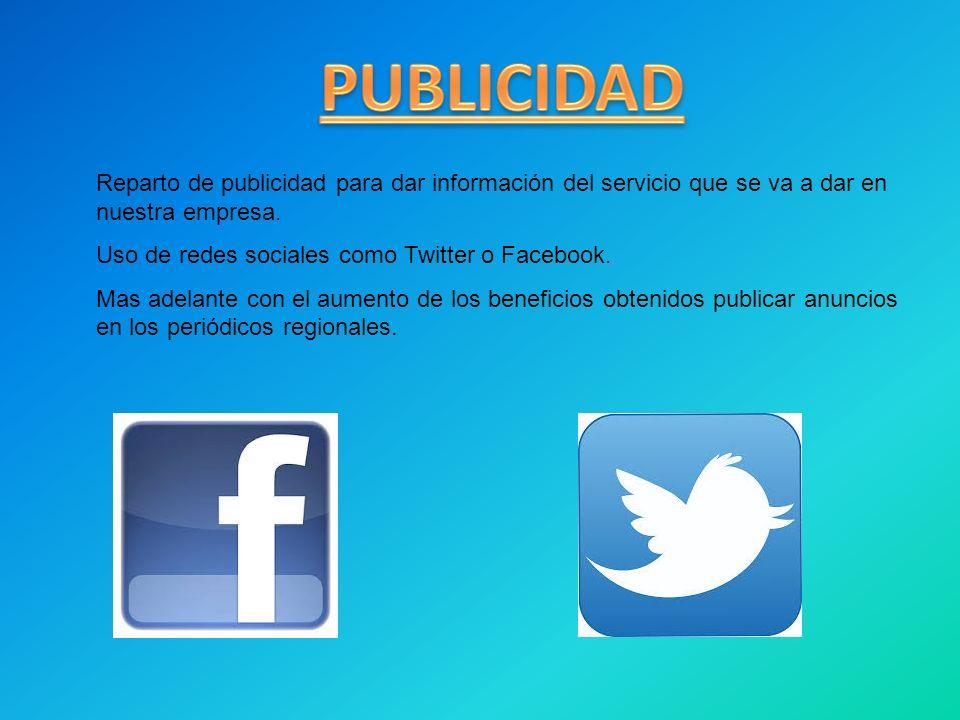 PUBLICIDAD Reparto de publicidad para dar información del servicio que se va a dar en nuestra empresa.