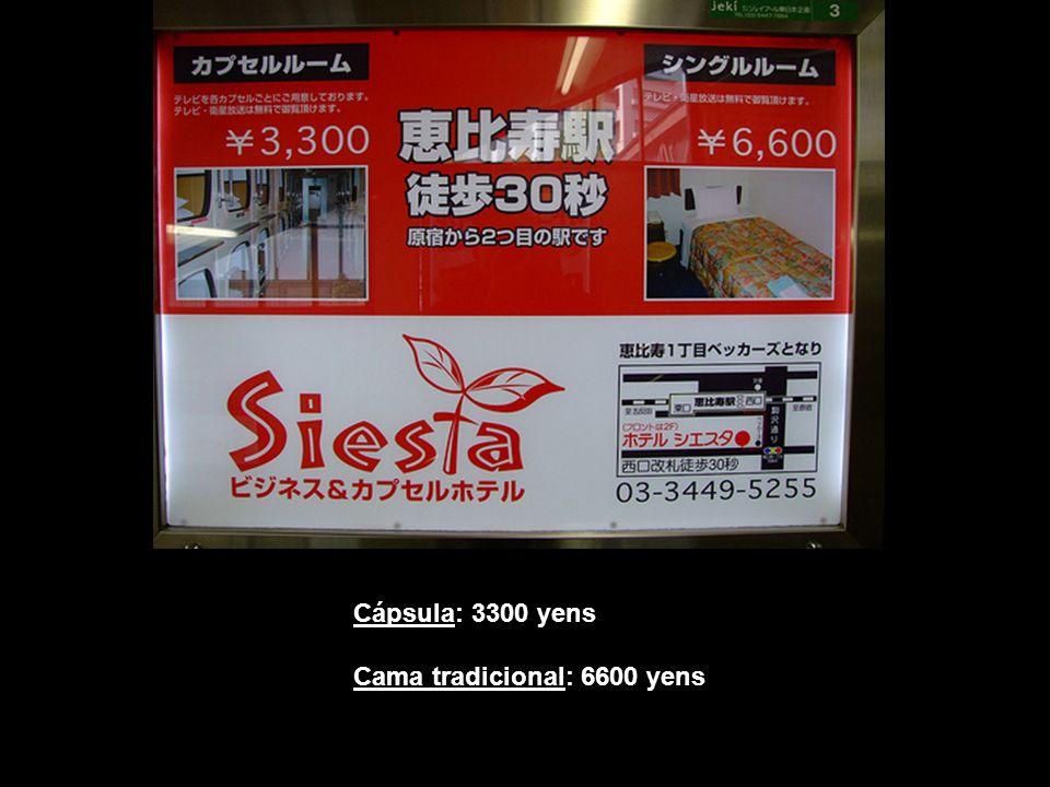 Cápsula: 3300 yens Cama tradicional: 6600 yens