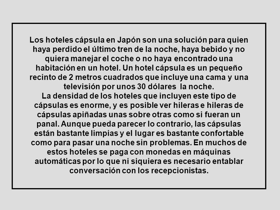 Los hoteles cápsula en Japón son una solución para quien haya perdido el último tren de la noche, haya bebido y no quiera manejar el coche o no haya encontrado una habitación en un hotel. Un hotel cápsula es un pequeño recinto de 2 metros cuadrados que incluye una cama y una televisión por unos 30 dólares la noche.