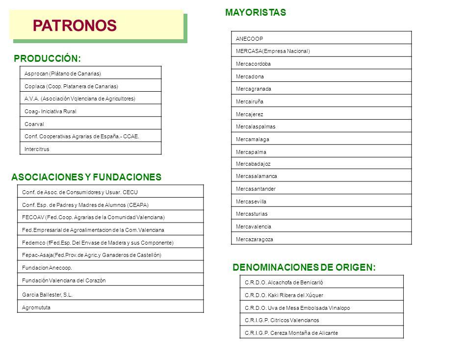 PATRONOS MAYORISTAS PRODUCCIÓN: ASOCIACIONES Y FUNDACIONES