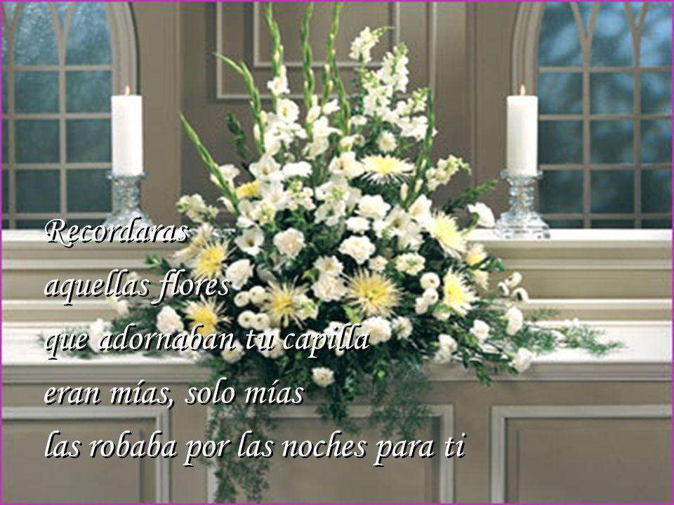 Recordaras aquellas flores. que adornaban tu capilla.