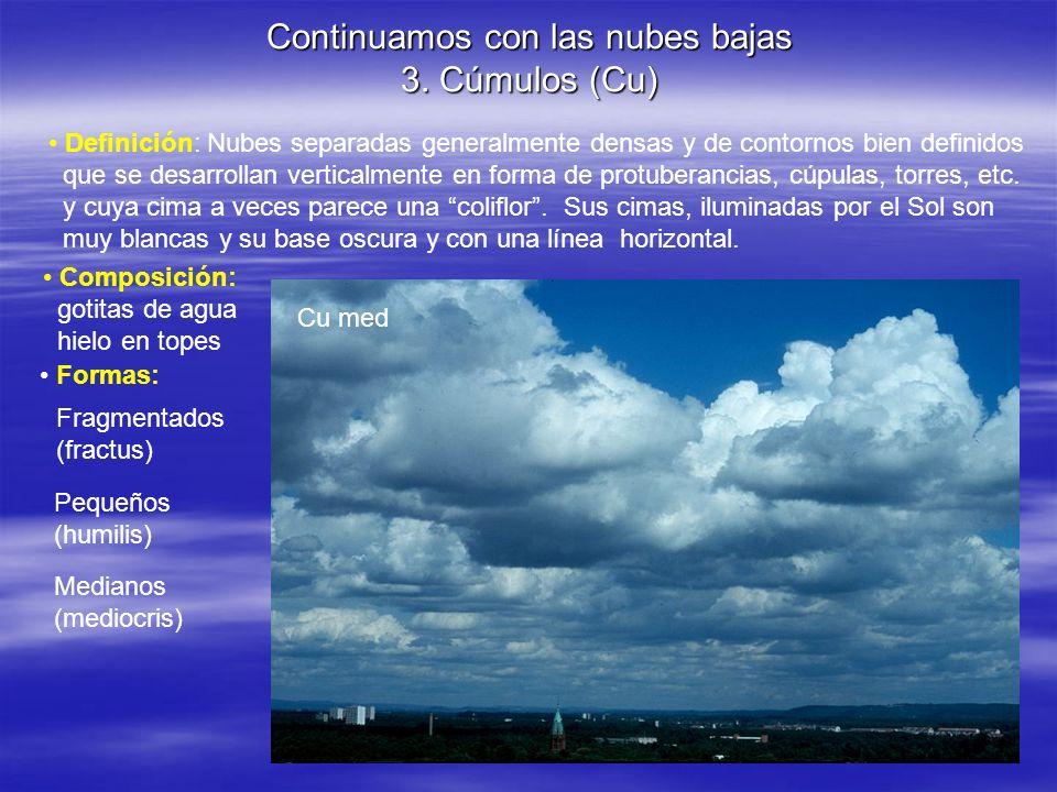 Continuamos con las nubes bajas 3. Cúmulos (Cu)
