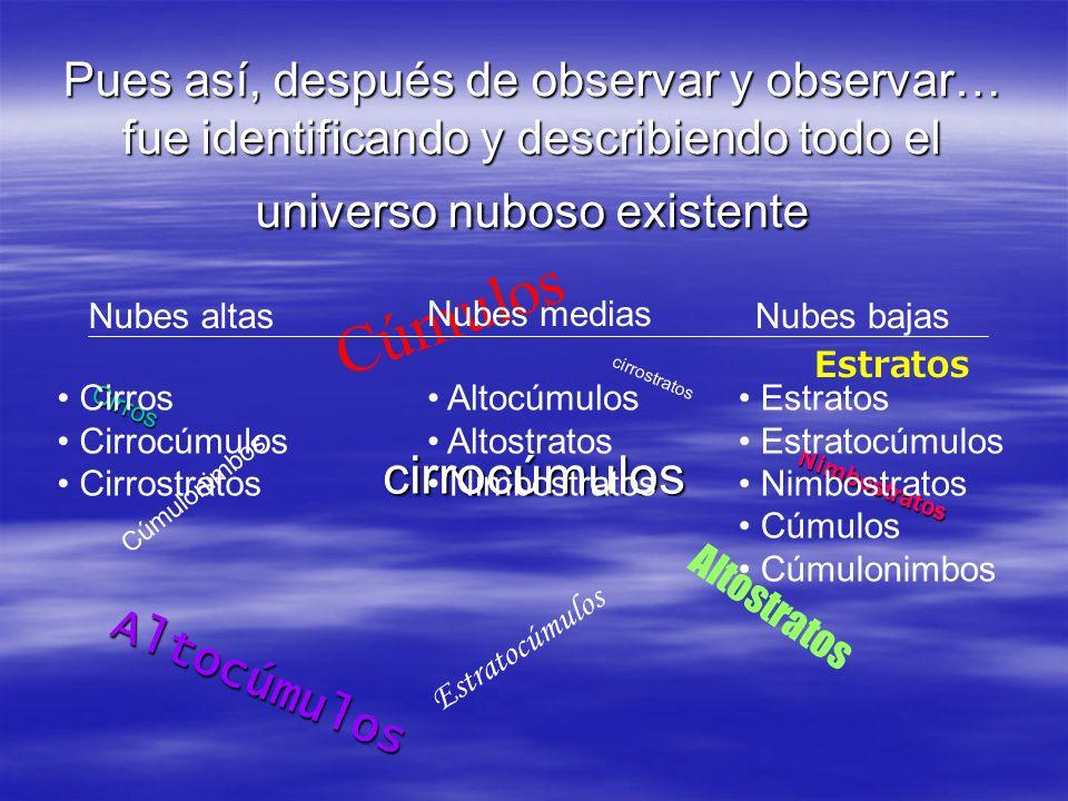 Pues así, después de observar y observar… fue identificando y describiendo todo el universo nuboso existente
